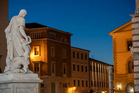 Grosseto, Tuscany, Italy: the cathedral  square by night