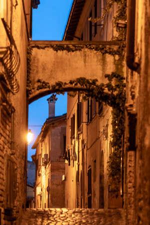 Monterotondo, Rome, Lazio, Italy: old typical street by night