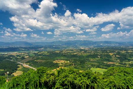 Rural landscape in the Rome province between Faleria and Fiano Romano, near Civita Castellana, at summer