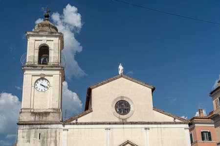 Historic buildings of Fiano Romano, Rome, Lazio, Italy: church facade