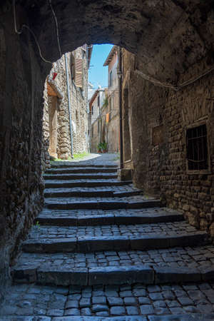 Cori, Latina, Lazio, Italy: typical covered alley in the historic town