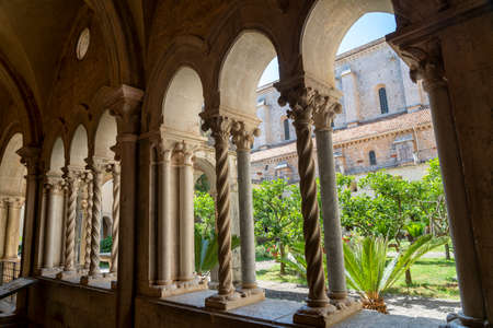 Cloister of the Abbey of Fossanova, Latina, Lazio, Italy, medieval monument