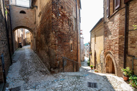 Ripatransone, Ascoli Piceno, Marches, Italy: typical streets of the historic town at morning