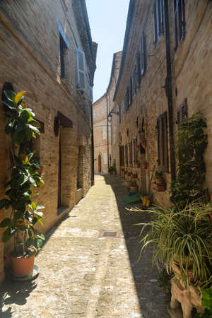 Monte Giberto, Fermo, Marches, Italy: medieval village. Typical street with old houses and flowers