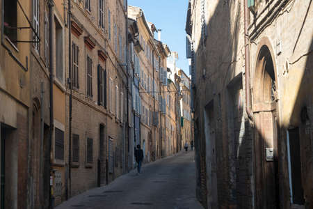 Macerata, Marches, Italy: a street of the historic city