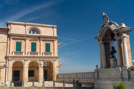Treia, Macerata, Marches, Italy: a square of the historic town