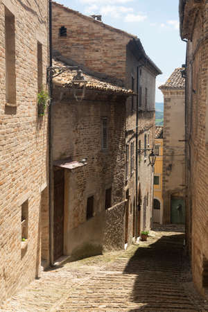 Monte Giberto, Fermo, Marches, Italy: medieval village. Typical street with old houses