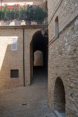 Treia, Macerata, Marches, Italy: a street of the historic town