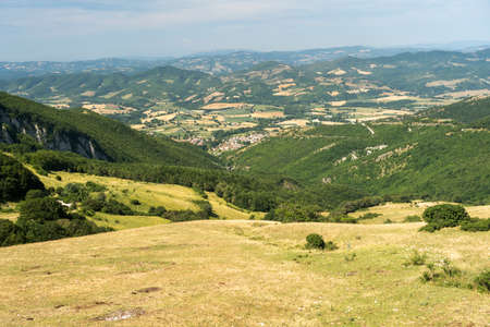 Mountain landscape near the Monte Cucco, between Marche and Umbria, Italy, at summer Archivio Fotografico