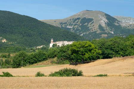 Mountain landscape near the Monte Cucco, Fabriano, Ancona, Marche, Italy, at summer. View of Bastia, historic village