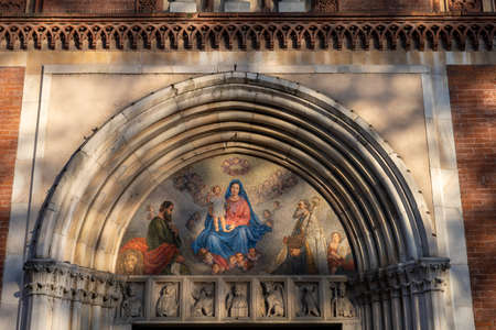 Milan, Lombardy, Italy: facade of the historic San Marco church, mosaic