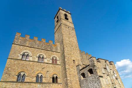 Poppi, Arezzo, Tuscany, Italy, with its medieval castle known as Castello dei Conti Guidi. Statue of Dante Alighieri