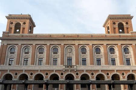 Historic Aurelio Saffi square in Forli, Emilia Romagna, Italy: Palazzo delle Poste