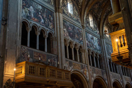 Interior of the medieval cathedral (Duomo) of Parma, Emilia-Romagna, Italy