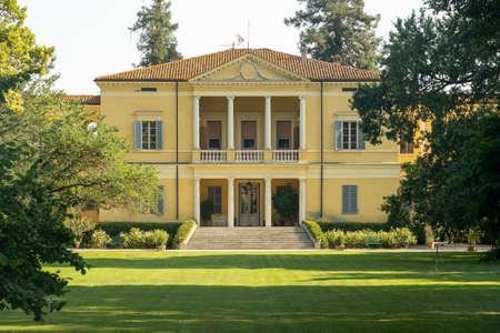 Exterior of the historic villa at Molino dei Notari, in the Parma province, Emilia-Romagna, Italy