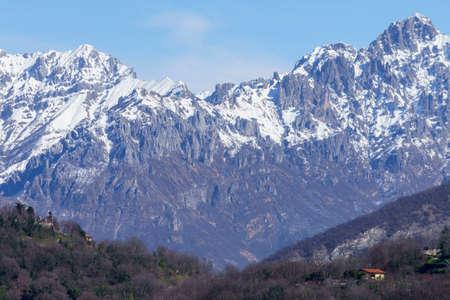 Mountain landscape at winter near Erba, Como, Lombardy, Italy