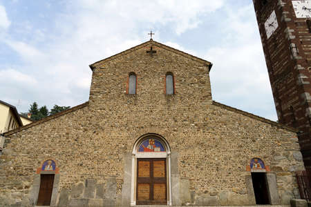 Agliate, Monza e Brianza, Lombardy, Italy: medieval church of the Saints Peter and Paul. Facade