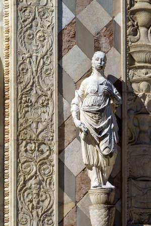 Bergamo, Lombardy, Italy: facade of Cappella Colleoni, medieval monument at the cathedral (Duomo). Details
