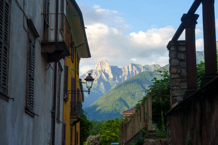 Breno, Brescia, Lombardy, Italy: historic town in the Oglio valley. Typical street