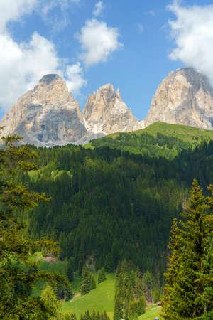 Mountain landscape at summer along the road to Pordoi pass, Dolomites, Trentino Alto Adige, Italy Stock Photo