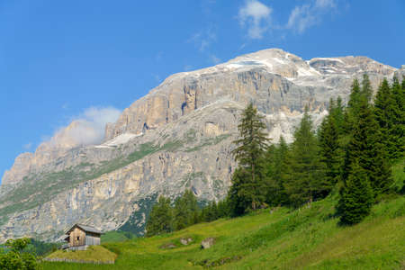 Mountain landscape at summer along the road to Campolongo pass, Dolomites, Belluno province, Veneto, Italy