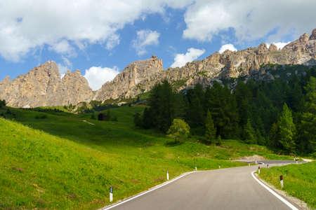 Mountain landscape at summer along the road to Gardena pass, Dolomites, Bolzano province, Trentino Alto Adige, Italy