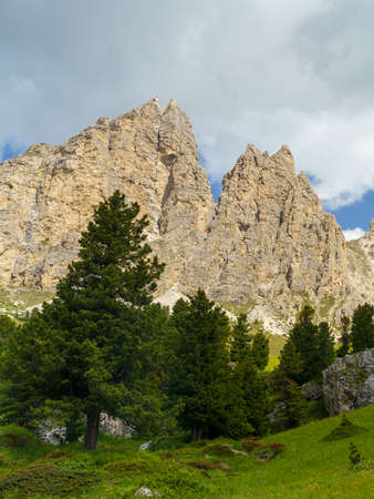 Mountain landscape at summer along the road to Gardena pass, Dolomites, Trentino Alto Adige, Italy