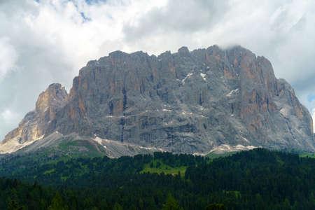 Mountain landscape at summer along the road to Sella pass, Dolomites, Bolzano province, Trentino Alto Adige, Italy