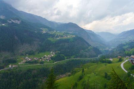 Mountain landscape at summer along the road to Colle Santa Lucia, Dolomites, Belluno province, Veneto, Italy.