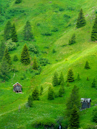 Mountain landscape at summer along the road to Giau pass, Dolomites, Belluno province, Veneto, Italy. Stockfoto