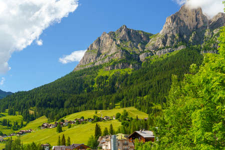 Mountain landscape at summer along the road to Forcella Staulanza at Selva di Cadore, Dolomites, Belluno province, Veneto, Italy.