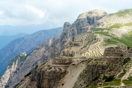 Mountain landscape at summer along the road to Tre Cime di Lavaredo, Dolomites, Belluno province, Veneto, Italy.