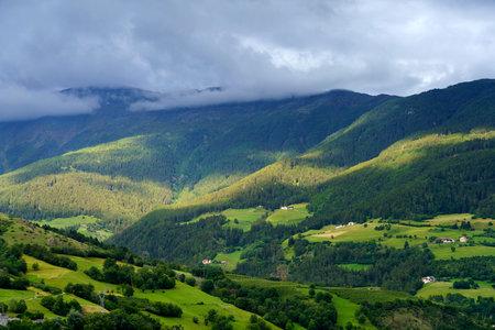 Glorenza, or Glurns, Bolzano, Trentino Alto Adige, Italy: historic city in the Venosta valley .. Mountain landscape at summer Archivio Fotografico