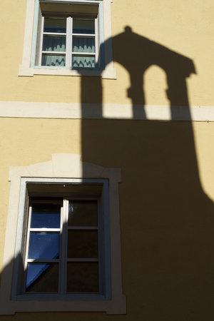 Glorenza, or Glurns, Bolzano, Trentino Alto Adige, Italy: historic city in the Venosta valley. old house with shadow