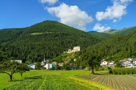 Mountain landscape along the road from Glorenza to Prato allo Stelvio, Bolzano province, Trentino Alto Adige, Italy, in the summertime Archivio Fotografico