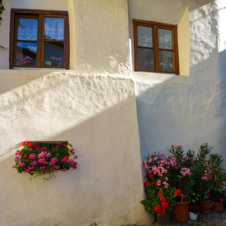 Glorenza, or Glurns, Bolzano, Trentino Alto Adige, Italy: historic city in the Venosta valley. Old white house