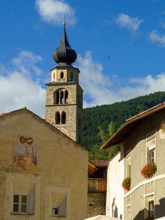 Glorenza, or Glurns, Bolzano, Trentino Alto Adige, Italy: historic city in the Venosta valley. Old square at morning