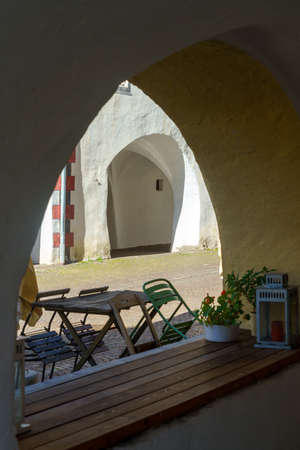 Glorenza, or Glurns, Bolzano, Trentino Alto Adige, Italy: historic city in the Venosta valley. White porch