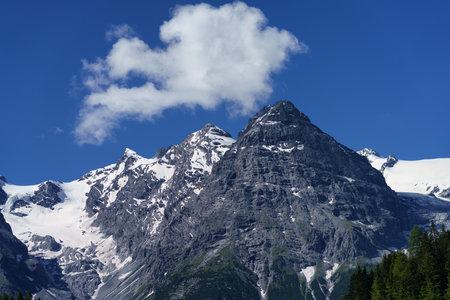Mountain landscape along the road to Stelvio pass, Bolzano province, Trentino-Alto Adige, Italy, at summer
