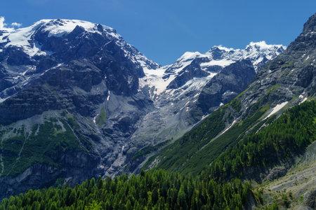 Mountain landscape along the road to Stelvio pass, Bolzano province, Trentino-Alto Adige, Italy, at summer. Glacier