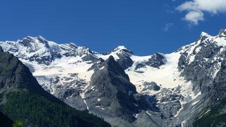 Mountain landscape along the road to Stelvio pass,  Trentino-Alto Adige, Italy, at summer