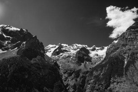 Mountain landscape along the road to Stelvio pass,  Trentino-Alto Adige, Italy, at summer. Black and white Archivio Fotografico