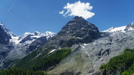 Mountain landscape along the road to Stelvio pass,  Trentino-Alto Adige, Italy, at summer. Glacier