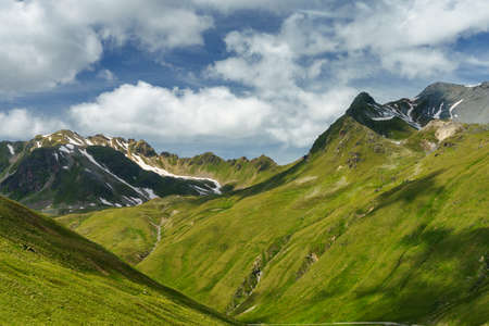Mountain landscape along the road to Stelvio pass, Sondrio province, Lombardy, Italy, at summer. Stock Photo