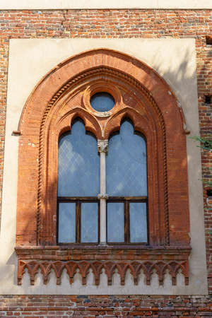 Bereguardo, Pavia, Lombardy, Italy: windoiw of the medieval castle