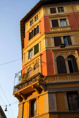 Milan, Lombardy, Italy: facade of old residential building along via Paolo Sarpi