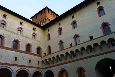 Milan, Lombardy, Italy: historic castle known as Castello Sforzesco. A court Archivio Fotografico