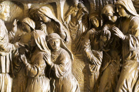 Milan, Lombardy, Italy: interior of the historic Sant Agostino church: sculpture