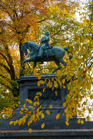 Milan, Lombardy, Italy: historic park known as Parco Sempione at November and statue of Vittorio Emanuele