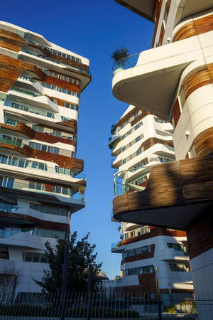 Milan, Lombardy Italy: the modern Citylife park. The residential Hadid buildings